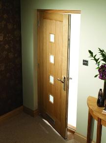 Siena Oak Front Door with Light Oak Stain