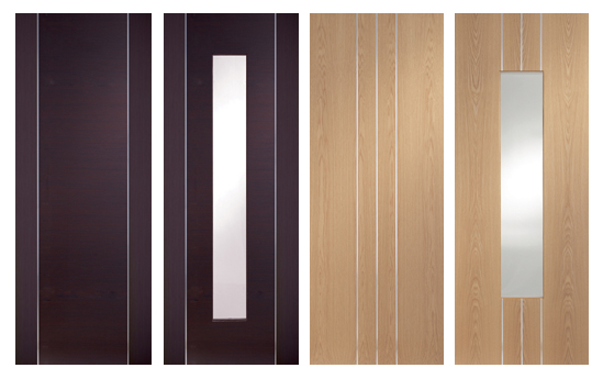 Contemporary Forli Wenge and Barletta Oak Internal Doors