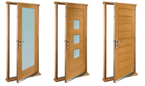 Pre-finished and pre-hung external door sets