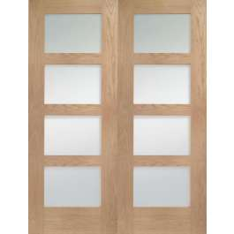 Shaker Oak Clear Glazed Rebated Pair