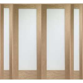 Pattern 10 Oak Room Divider Set Clear Glazed W6