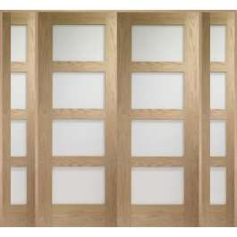 Shaker Oak Room Divider Set Clear Glazed W6