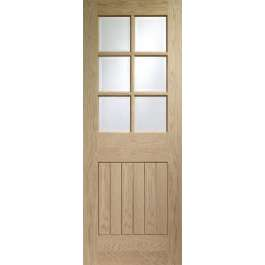 Suffolk Oak 6L Clear Glazed Fire Door