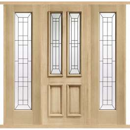 Malton Diamond Oak External Double Side Panel Door Set