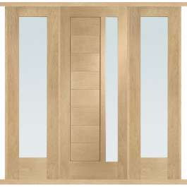 Modena Oak Glazed External Double Side Panel Door Set