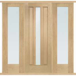 Padova Oak External Double Side Panel Door Set
