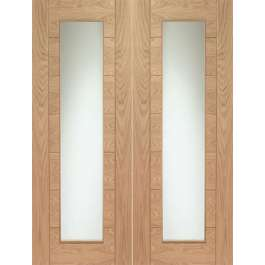 Palermo Oak Clear Glazed Rebated Pair with Clear Glass