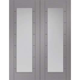 Palermo Light Grey Clear Glazed Rebated Pair