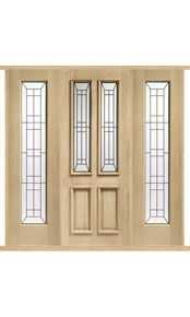 Malton Diamond Oak External Double Side Panel Door Set thumbnail