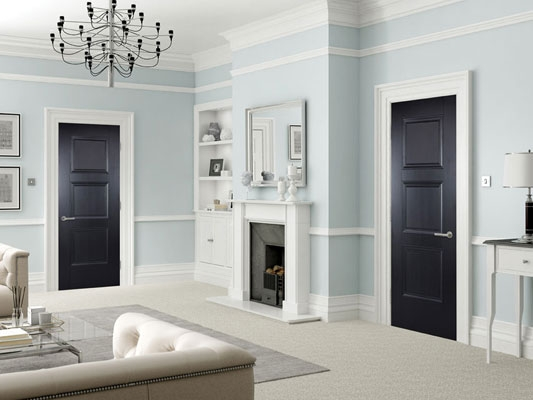 Amsterdam Black Primed Internal Doors
