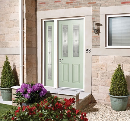 Malton Glazed Green External GRP Composite Door and Sidelight