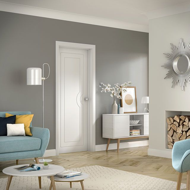Potenza White Internal Door in Room Setting